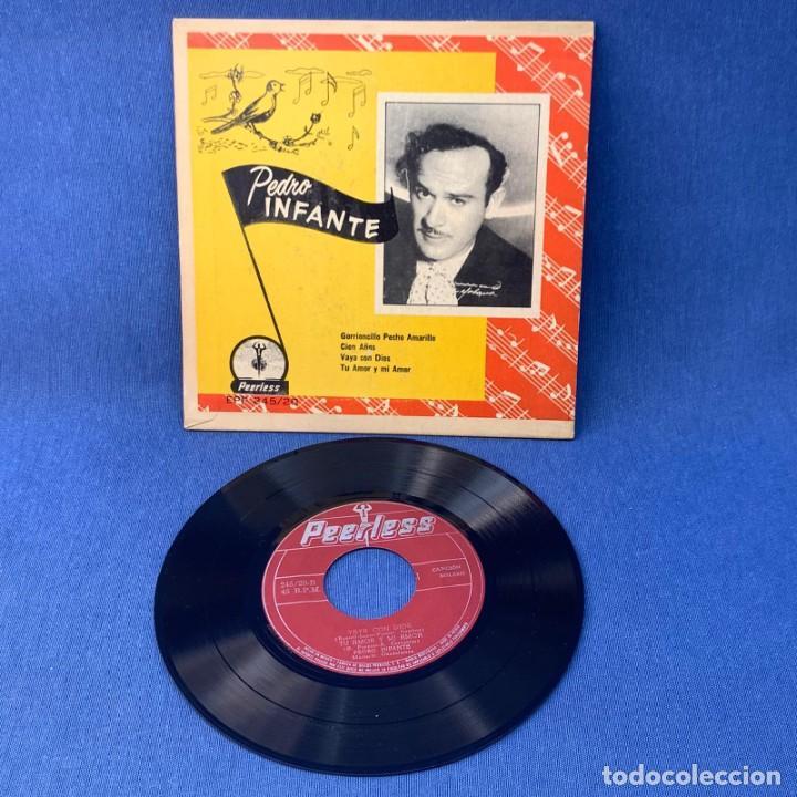 Discos de vinilo: EP PEDRO INFANTE - GORRIONCILLO PECHO AMARILLO , CIEN AÑOS , VAYA CON DIOS - MÉXICO - AÑOS 1960 - Foto 2 - 209935077