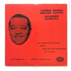 Discos de vinilo: LESTER YOUNG QUARTET – TOO MARVELOUS FOR WORDS SWEDEN 1955 KARUSELL. Lote 209945398