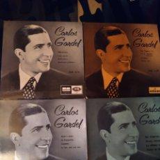 Discos de vinilo: LOTE 4 DISCOS CARLOS GARDEL, ODEON. 1958. Lote 210004516
