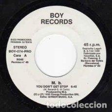 Discos de vinilo: M. B. – YOU DON'T GET STOP - SINGLE PROMO HOUSE SPAIN 1990. Lote 210008460