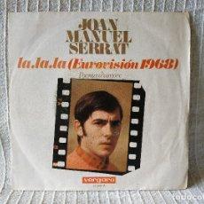 Discos de vinilo: JOAN MANUEL SERRAT - LA LA LA / POEMA D´AMORE SINGLE VERGARA DE 1968 (CANTA EN ITALIANO) BUEN ESTADO. Lote 210046347