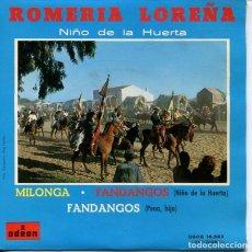 Discos de vinilo: NIÑO DE LA HUERTA / VOLABA UNA MARIPOSA + 3 (EP ODEON 1962). Lote 210078275