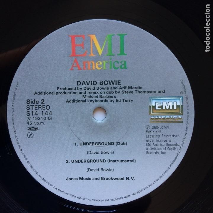 Discos de vinilo: David Bowie – Underground (Extended Dance Mix) JAPAN 1986 EMI AMERICA - Foto 5 - 210088695