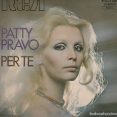 Discos de vinilo: 45 GIRI PATTY PRAVO PER TE UNA CONCHIGLIA MADE IN FRANCE COVER CARTONATA LATO B UNA SCRITTA E RING. Lote 210091410
