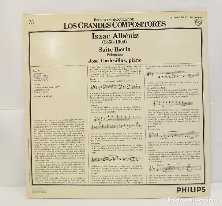 Discos de vinilo: ISAAC ALBÉNIZ LP 1982 SUITE IBERIA Nº 75 ENCICLOPEDIA SALVAT DE LOS GRANDES COMPOSITORES. - Foto 2 - 210131083