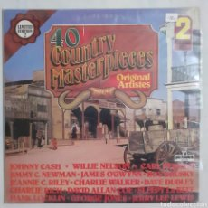 Discos de vinilo: 40 COUNTRY MASTERPIECES. 2 LP. GATEFOLD. PLD 8002. 1979 ENGLAND. DISCOS VG++ VG++. CARÁTULA VG ++. Lote 210187116