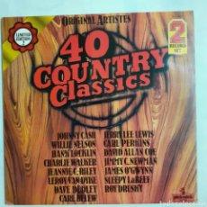 Discos de vinilo: 40 COUNTRY CLASSICS. 2 LP. GATEFOLD. 1979 ENGLAND. PLD 8011. DISCOS VG++ VG++. CARÁTULA VG++.. Lote 210188695
