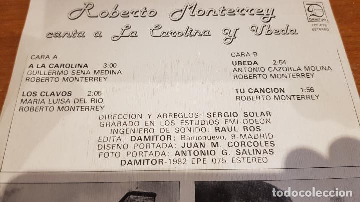 Discos de vinilo: ROBERTO MONTERREY CANTA A LA CAROLINA Y ÚBEDA / EP - DAMITOR-1982 / MBC. ***/*** DIFÍCIL. - Foto 3 - 210194412