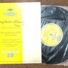 Discos de vinilo: WOLFGANG AMADEUS MOZART. MISA EN DO MAYOR K317 (DE LA CORONACION). DEUTSCHE GRAMMOPHON 1958. Lote 210205311