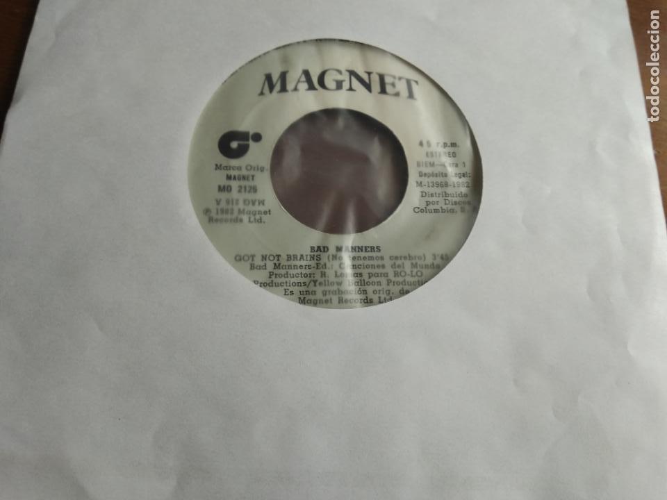 BAD MANNERS ?– GOT NO BRAINS = NO TENEMOS CEREBRO / PSYCHEDELIC ERIC / ONLY FUNKIN' / ESPAÑA 1982- (Música - Discos - Singles Vinilo - Reggae - Ska)