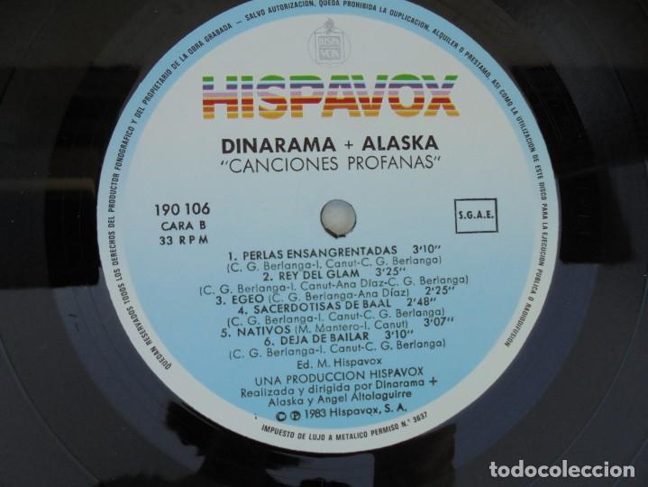 Discos de vinilo: DINARAMA. CANCIONES PROFANAS. ALASKA. LP VINILO HISPAVOX 1983. - Foto 4 - 210391332