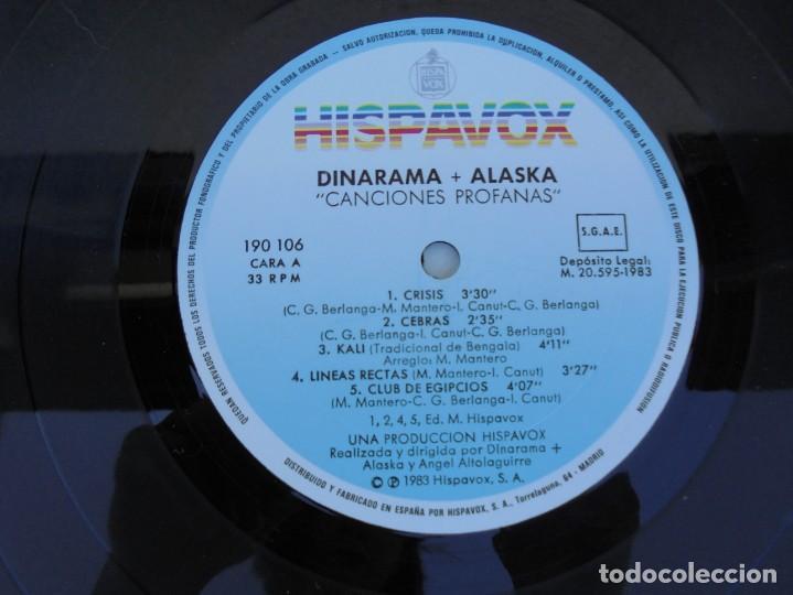 Discos de vinilo: DINARAMA. CANCIONES PROFANAS. ALASKA. LP VINILO HISPAVOX 1983. - Foto 6 - 210391332
