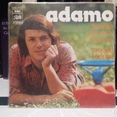 Discos de vinilo: ** ADAMO - FEMME AUX YEUX D'AMOR / CROQUE-CERISE - SG AÑO 1972 - MADE IN FRANCE - LEER DESCRIPCION. Lote 210401601