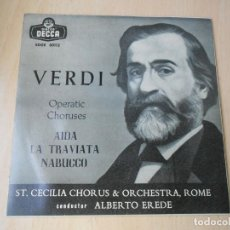 Discos de vinilo: ST. CECILIA CHORUS & ORCHESTRA, ROME - CONDUCTOR: ALBERTO EREDE, EP, AIDA + 2, AÑO 1958. Lote 210402407