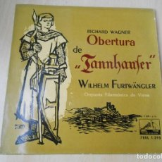 Discos de vinilo: ORQ. FILARMÓNICA DE VIENA: WILHELM FURTWÄNGLER, EP, OBERTURA DE TANNHAUSER + 1, AÑO 1958. Lote 210404173