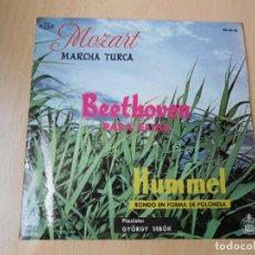 Discos de vinilo: GYÖRGY SEBÖK, PIANISTA, EP, MARCHA TURCA DE MOZART + 2, AÑO 1960. Lote 210405156