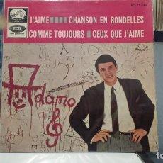 Discos de vinilo: ** ADAMO - J'AIME / CHANSON EN RONDELLES + 2 - EP AÑO 1965 - MUESTRA PROMOCIÓN - LEER DESCRIPCIÓN. Lote 210405587