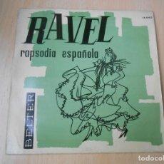 Discos de vinilo: ORQ. SINFÓNICA RADIO DE PARÍS, DIRECTOR: RENÉ LEIBOWITZ, EP, RAVEL-RAPSODIA ESPAÑOLA + 1, AÑO 1961. Lote 210405968