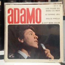 Discos de vinilo: ** ADAMO - LES FILLES DU BORD DE MER / DOLCE PAOLA +2 - AÑO 1964 - MADE IN FRANCE - LEER DESCRIPCIÓN. Lote 210408408