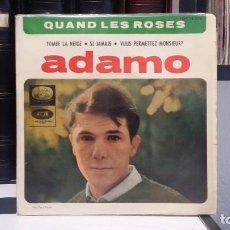 Discos de vinilo: ** ADAMO - QUAND LES ROSES / TOMBE LA NEIGE + 2 - EP AÑO 1964 - LEER DESCRIPCIÓN. Lote 210409823
