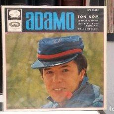 Discos de vinilo: ** ADAMO - TON NOM / DU SOLEIL DU BOULOT + 2 - EP AÑO 1965 - MUESTRA PROMOCIÓN - LEER DESCRIPCIÓN. Lote 210410110