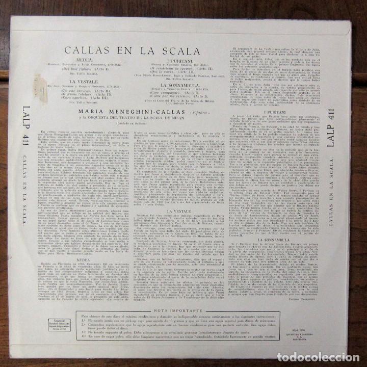 Discos de vinilo: MARIA CALLAS EN LA SCALA - 1958 - MEDEA, LA VESTALE, I PURITANI, LA SONNAMBULA - OPERA, EXTRACTOS - Foto 2 - 210412471