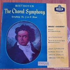 Discos de vinilo: BEETHOVEN - THE CHORAL SYMPHONY Nº 9 IN D MINOR - LP 1961. Lote 210417223