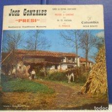 Discos de vinilo: JOSE GONZALEZ, PRESI. SINGLE DE DISCOS COLUMBIA CON 4 CANCIONES ASTURIANAS: SUBO LA ESPINA CANTANDO. Lote 210550873
