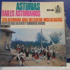 Discos de vinilo: ASTURIAS. BAILES ASTURIANOS. VOLUMEN 2. SINGLE CON 3 CANCIONES: JOTA ASTURIANA - BAILE DEL CENTRO -. Lote 210551660