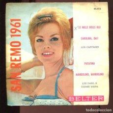 Discos de vinilo: SAN REMO 1961. LOS CAPITANES CAROLINA LOS DANIL. PATATINA. EP BELTER 1961. Lote 210575783