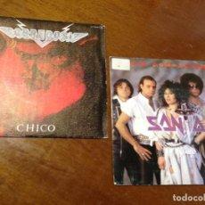 Discos de vinilo: LOTE DOS SINGLES HEAVY ESPAÑOL-SOBREDOSIS -CHICO- SANTA-SIN COMPASION-. Lote 210592453