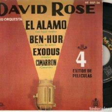 """Discos de vinilo: DAVID ROSE Y SU ORQUESTA 7"""" SPAIN EP 45 EL ALAMO BEN-HUR CIMARRON SINGLE VINILO 1961 BANDAS SONORAS. Lote 210595430"""