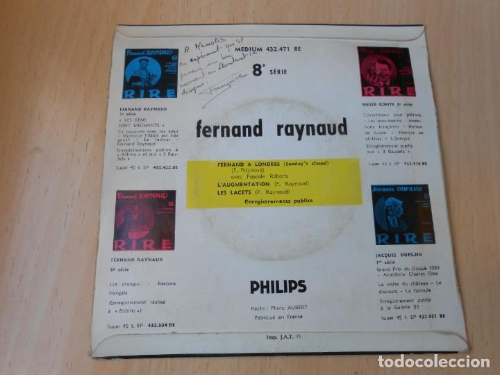Discos de vinilo: FERNAND RAYNAUD, EP, FERNAND A LONDRES + 2, AÑO 19?? MADE IN FRANCE - Foto 2 - 210623986