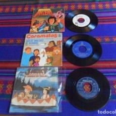 Discos de vinilo: SINGLE BSO ÉRASE UNA VEZ EL HOMBRE CARAMELOS, JACKY EL BOSQUE DE TALLAC Y TARZERIX. AÑOS 70.. Lote 210671630
