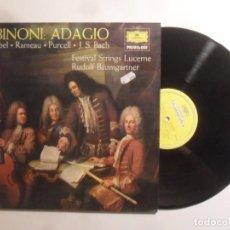 Dischi in vinile: LP - ALBINONI: ADAGIO - PACHELBEL*RAMEAU*PURCELL*J.S. BACH - 1976. Lote 210675204