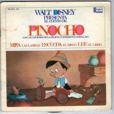 Discos de vinilo: WALT DISNEY PRESENTA EL CUENTO DE PINOCHO - EP HISPAVOX 1967. Lote 210712570
