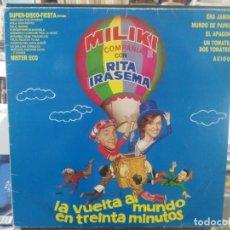 Discos de vinilo: MILIKI Y COMPAÑÍA CON RITA IRASEMA - LA VUELTA AL MUNDO EN TREINTA MINUTOS - LP. SELLO EMI DE 1986. Lote 210731556
