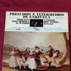 Discos de vinilo: PRELUDIOS E INTERMEDIOS DE ZARZUELA. Lote 210766949