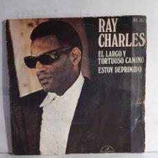 Discos de vinilo: RAY CHARLES-EL LARGO Y TORTUOSO CAMINÓ/ESTOY DEPRIMIDO. Lote 210773765