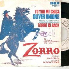 """Discos de vinilo: OLIVER ONIONS 7"""" SPAIN PROMO 45 ZORRO IS BACK SINGLE VINILO 1975 BANDA SONORA ZORRO ALAIN DELON BSO. Lote 210778314"""