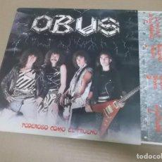 Discos de vinilo: OBUS (LP) PODEROSO COMO EL TRUENO AÑO – 1982 – ENCARTE CON LETRAS - PROMOCIONAL. Lote 210780061