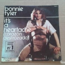 Discos de vinilo: BONNIE TYLER - IT´S A HEARTACHE SINGLE 1978 EDICION ESPAÑOLA. Lote 210809892