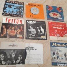 Discos de vinilo: GRUPOS-HEAVY ESPAÑOL- OCHO SINGLES-SPARTO,TRITON,TARZEN,HAMLET,ESTURION,FORCE,AMARO,BORRASKA,. Lote 210810464
