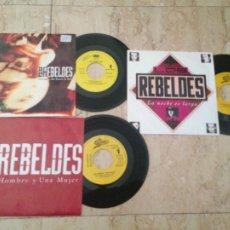 Discos de vinilo: LOS REBELDES- TRES SINGLES PROMOCIONALES-UN HOMBRE Y UNA MUJER / TIEMPO DE ROCK & ROLL / LA NOCHE ES. Lote 210812185