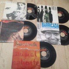Discos de vinilo: BARRICADA-CINCO SG-DEJA QUE ESTO NO ACABE NUNCA-TAN FACIL-TODOS MIRANDO-ANIMAL-HAZ LO QUE QUIERAS. Lote 210819734