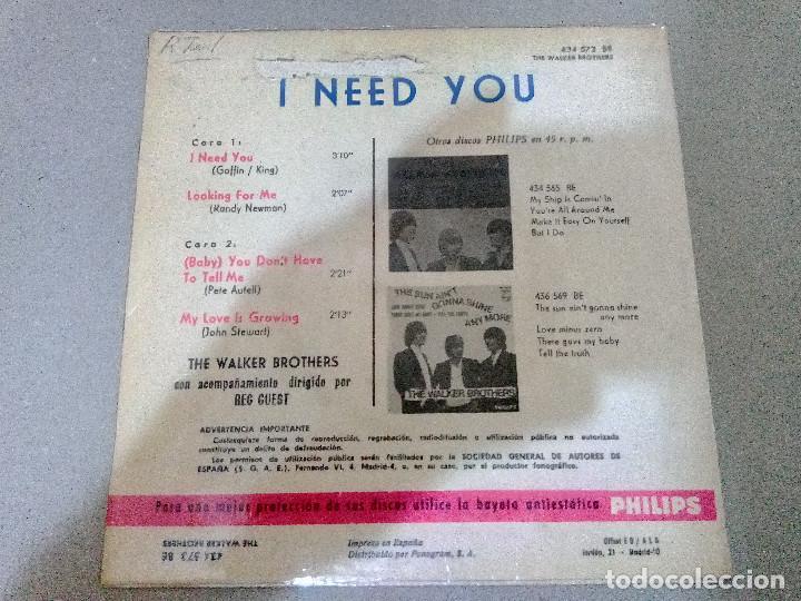 Discos de vinilo: T-93.- DISCO.- EP.- THE WALKER BROTHERS,-- I NED YOU-- Y 3 CANCIONES MAS .- PHILIPS 1966 - Foto 2 - 210821707