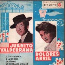 Disques de vinyle: JUANITO VALDERRAMA Y DOLORES ABRIL / EL VAGABUNDO + 3 (EP 1962) RF-4373. Lote 210828020
