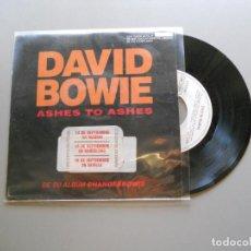 Discos de vinilo: DAVID BOWIE – ASHES TO ASHES - PROMO RARO (SÓLO EDICIÓN DE 500 EJEMPLARES) VG++/VG+ 1990. Lote 210943797
