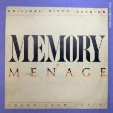 Discos de vinilo: SINGLE MEMORY MENAGE - THEME FROM CATS - MADRID 1986 - VG+. Lote 210947042