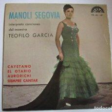 Discos de vinilo: MANOLI SEGOVIA I INTERPRETA CANCIONES DEL MAESTRO TEOFILO GARCIA - CAYETANO - SIEMPRE CANTAR -. Lote 211262212